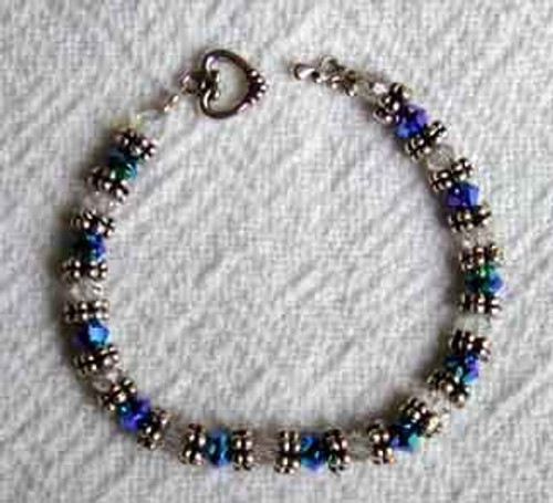 Crystal Bracelet with Heart Clasp