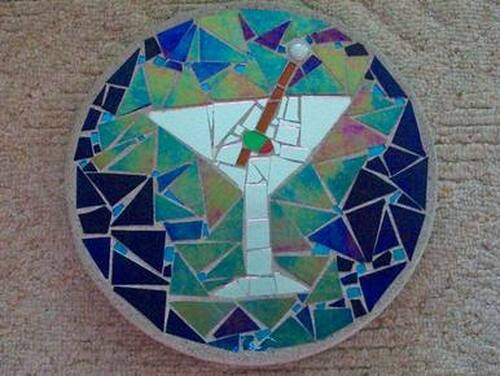 Cocktail Hour Stained Glass Stepping Stone