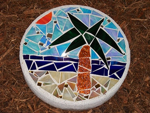 Palm Tree Stained Glass Stepping Stone