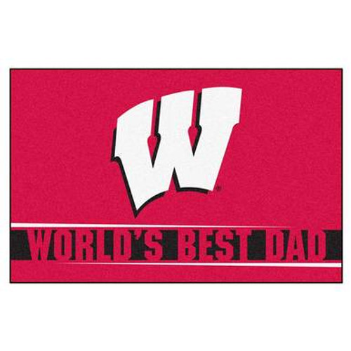 Wisconsin Badger Best Dad Floor Mat