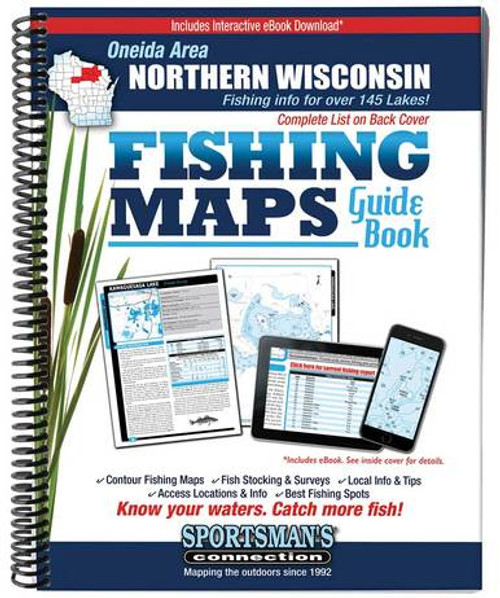Northern Wisconsin Oneida Area Fishing Maps Guide Book