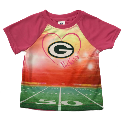 Green Bay Packers Infant Pink Synthetic Heart T-Shirt