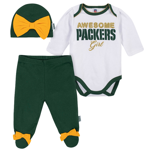 Awesome Packers Girl Creeper, Pants and Hat Set