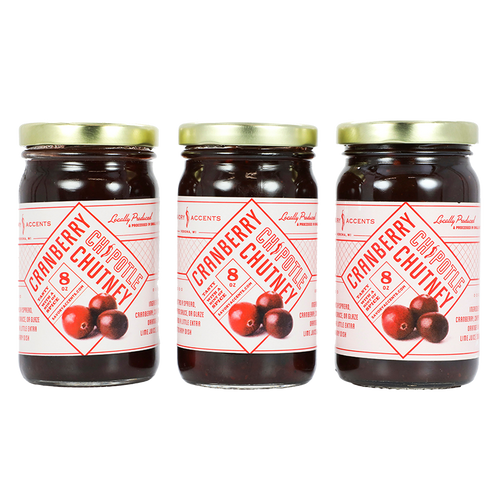Savory Accents Cranberry Chipotle Chutney - Three 8 oz Jars