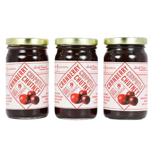 Cranberry Chipotle Chutney - Three 8 oz Jars