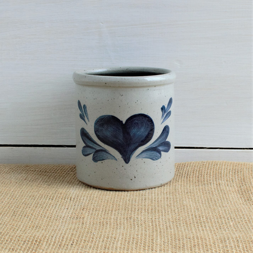 Rowe Pottery Heart Candle Crock - 45th Anniversary Edition, front view