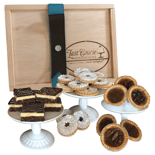 LInda's Favorite Sweets Gift Box- Showing Nanaimo Bars, Butter Tarts, and Linzer