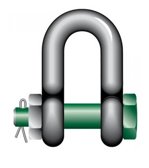 Green Pin Standard Dee Shackle with Safety Pin