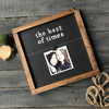 12X12 Frame {black wood with white  lettering}