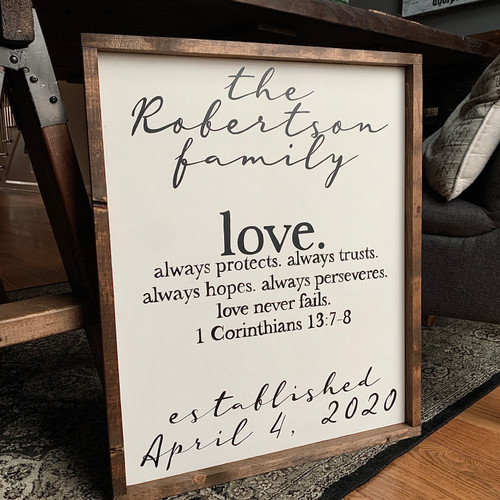 love. Family/Anniversary sign