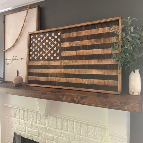 Stained Wood U.S. Flag