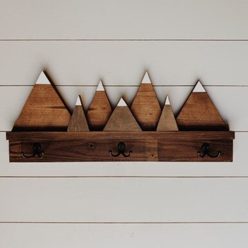 Snowy Mountain Shelf with Hooks
