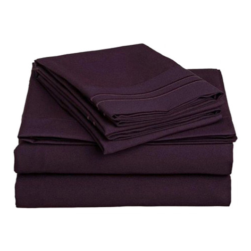 Clara Clark 8127  Twin Sheets - 1500 Collection EGGPLANT
