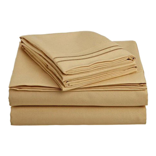 Clara Clark 8129 Twin Sheets - 1800 Collection CAMEL