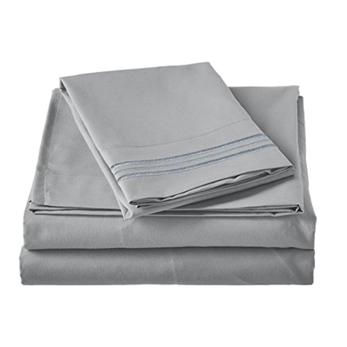 Clara Clark 8110 Cal King Sheets - 1500 Collection SILVER