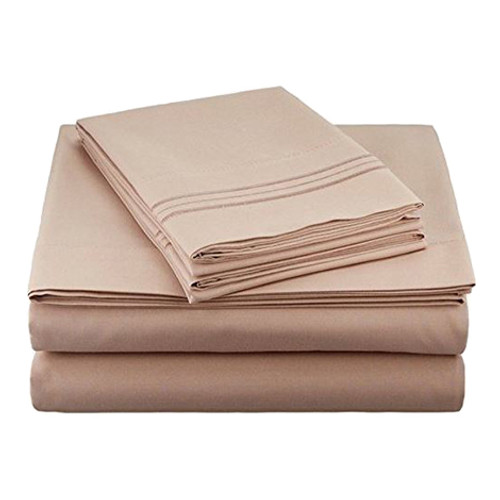 Clara Clark 8073 Cal King Sheets - 1800 Collection Taupe