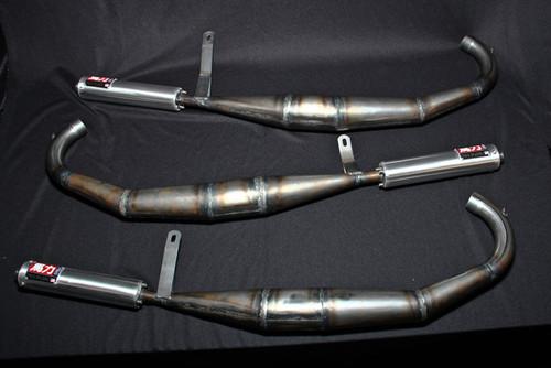 Kawasaki H2 triple cylinder 750 expansion chambers with mufflers