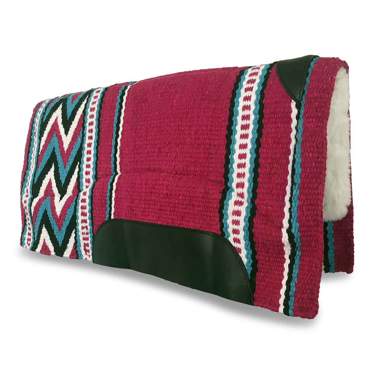 Pink and Aqua New Zealand Wool Western Saddle Pad