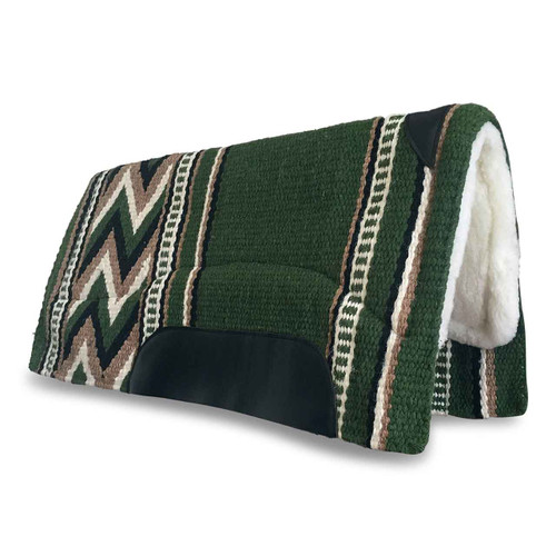 Green New Zealand Wool Western Saddle Pad