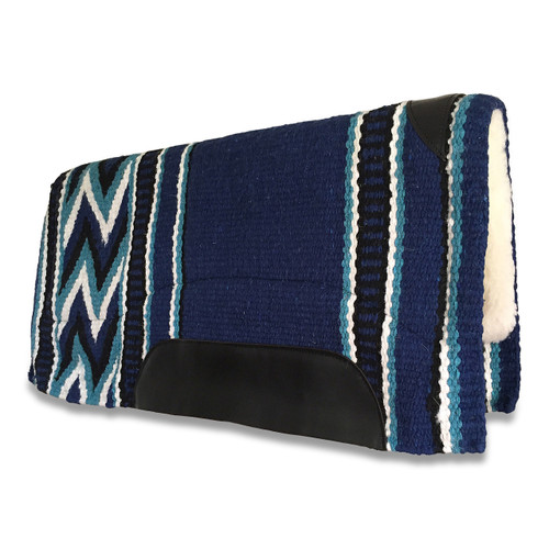 Royal Blue/Aqua New Zealand Wool Western Saddle Pad