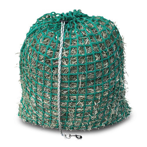 Large Slow Feed Hay Net with Toggle Closure and Free Snap Bolt  - Size 80 cm x 70 cm x 3.5 cm (holes)