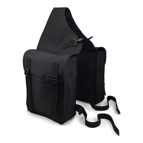 Black Nylon Horse Saddle Bags With Pommel Clips and Webbing Saddle Straps