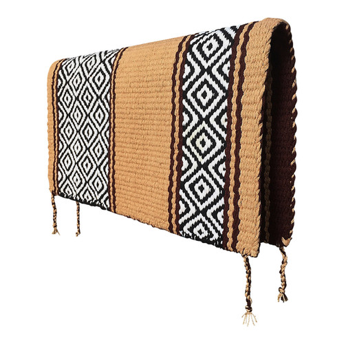 Western Saddle Blanket Reversible - Tan and Chocolate Brown