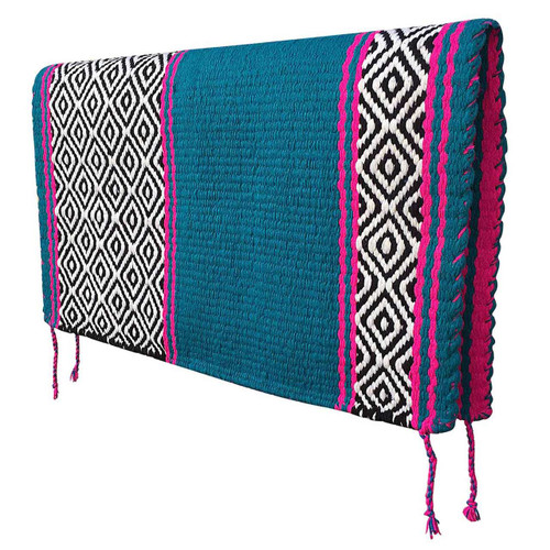 Teal/Fuchsia Pink Reversible Western Saddle Blanket