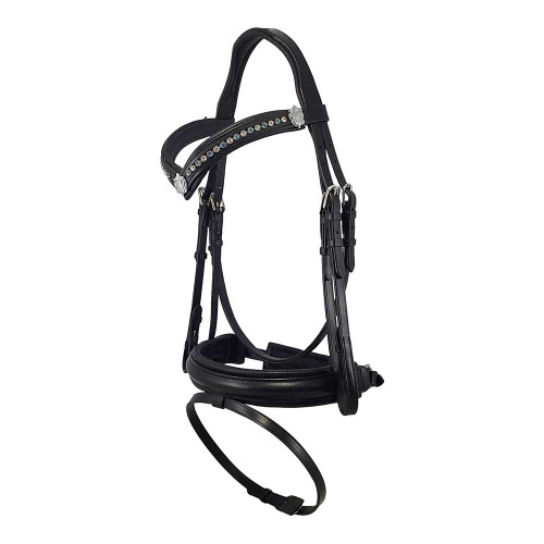 Black Snaffle Bridle With Blue and Clear Bling Browband - Side View