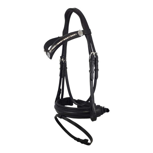 Black Snaffle Bridle With Grey and White Pearl Browband - Side View