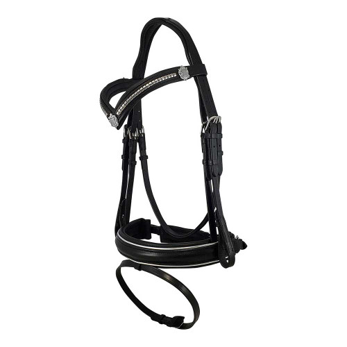Black Snaffle Bridle With Silver Clincher Browband - Side View