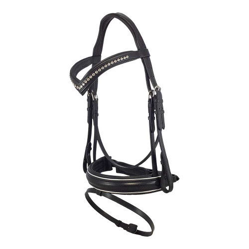 Black Snaffle Bridle With Bling Browband and Silver Piping - Side View