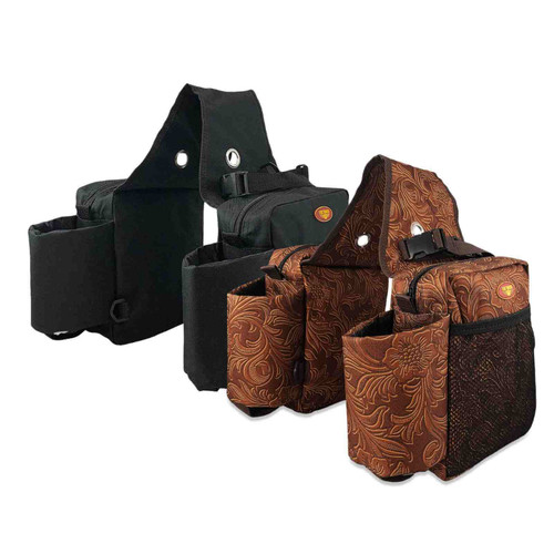 Horse Saddle Bags With Insulated Water Bottle Holders - Black and Tooled Leather Print