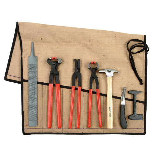 Farrier's Tool Kit - 7 Piece Set - Jute/Canvas Tool Roll