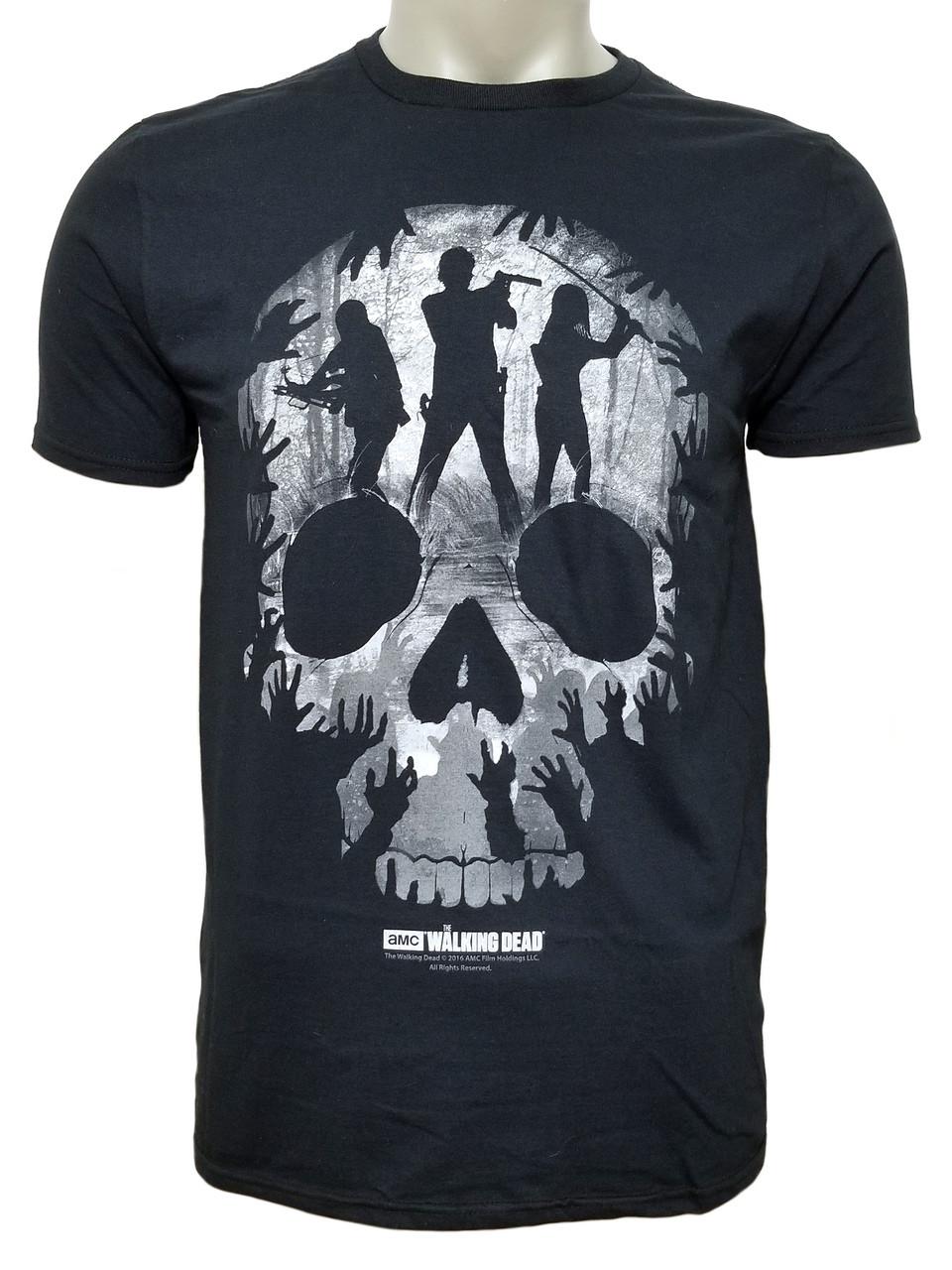walking dead skull t shirt