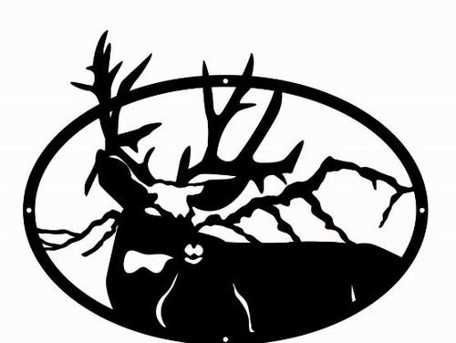 Deer in Mountain Range Oval