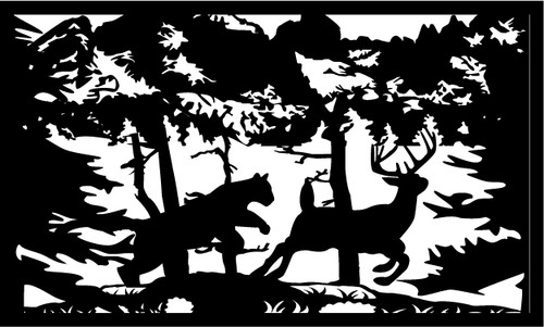Cougar Chasing Deer Railing - Style 2
