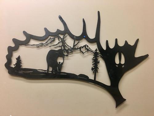 Moose Antler w/ Deer Standing