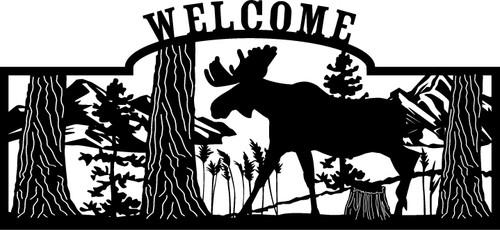 Walking Moose Welcome Sign