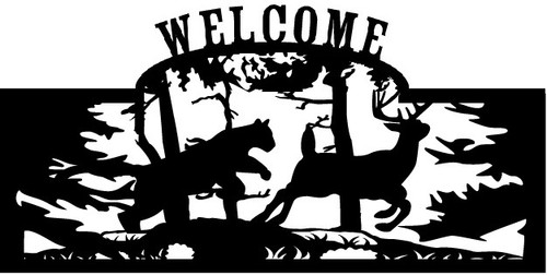 Welcome sign, Deer Being Chased 1