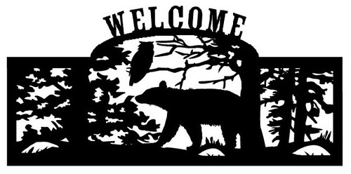 Welcome sign, Bear and Owl