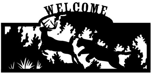 Welcome sign, Deer Being Chased 2