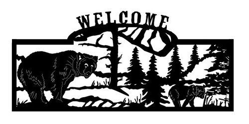Welcome sign, Bear and Cub Walking
