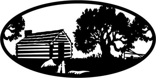 Oval Insert, Log Cabin