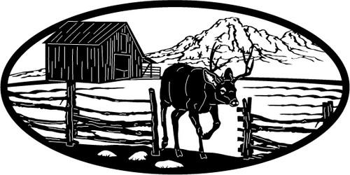 Deer Leaving Farm