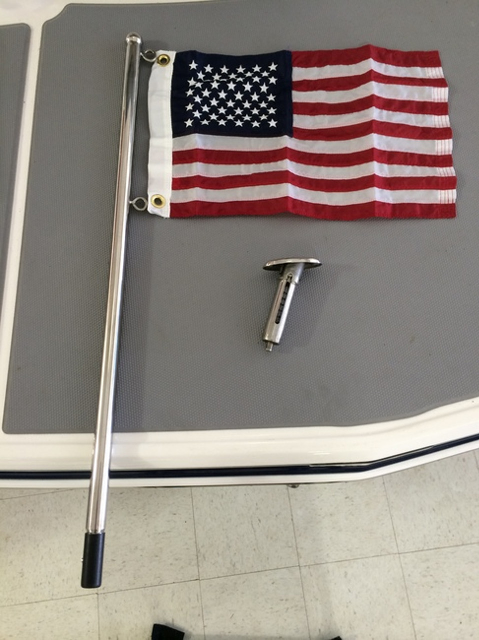 "1"" STAINLESS STEEL FLAG POLE & DECK FITTING  / 513-307SSX *In Stock & Ready To Ship!"