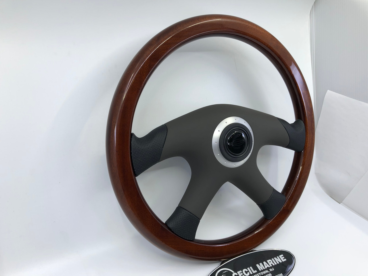 """CHAPARRAL 14"""" MAHOGANY STEERING WHEEL WITH PADDED COVER &  SPLINE HUB  *In Stock & Ready To Ship!"""