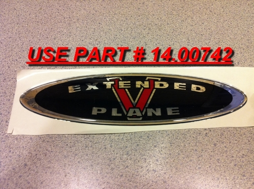 EXTENDED V HULL DECAL - BLACK LOGO  ** USE NEW STYLE DECAL PART # 14.00742 **