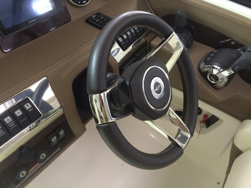STEERING WHEEL CAST SS SPOKE, BLACK LEATHER WRAPPED 43.00070  ** IN STOCK & READY TO SHIP! **