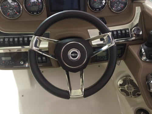 CHAPARRAL STEERING WHEEL CAST SS SPOKE, BLACK LEATHER WRAPPED  * IN STOCK & READY TO SHIP! **